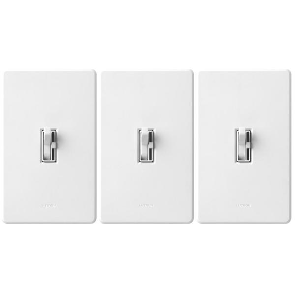 Toggler LED+ Dimmer Switch for Dimmable LED, Halogen/Incandescent Bulbs w/Wallplate, Single-Pole/3-Way, White (3-Pack)