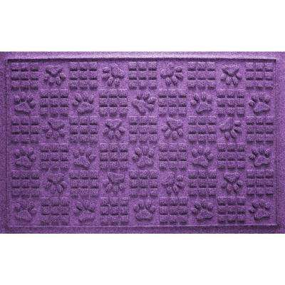 Purple 24 in. x 36 in. Dog Paw Squares Pet Mat