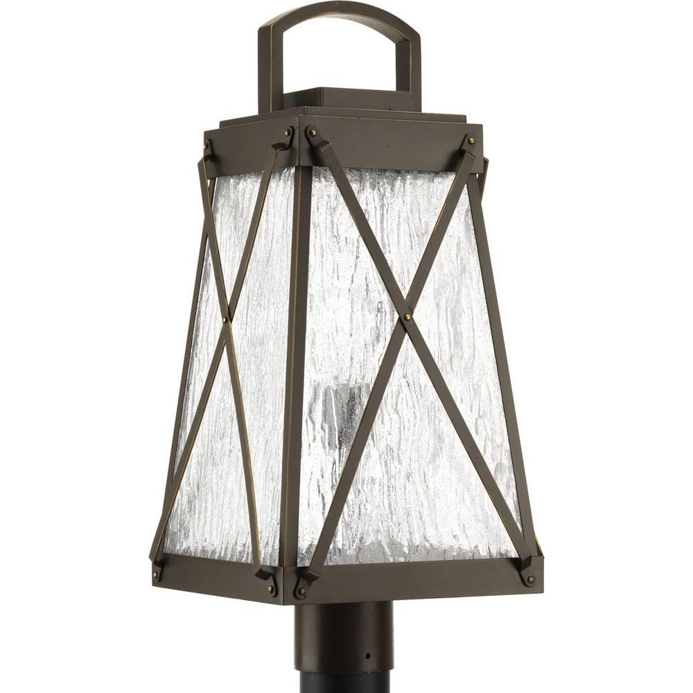 Creighton Collection 1-Light Outdoor Antique Bronze Post Lamp