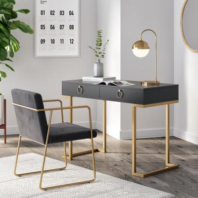 42 in. Black Rectangular 2 -Drawer Writing Desk with Gold Accent