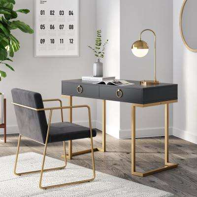 Leighton Black 2-Drawer Writing Desk with Gold Accent