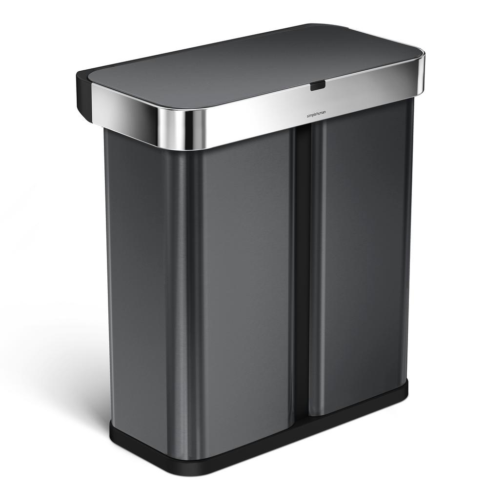 simplehuman 15.3 Gal. Black Stainless Steel Dual Compartm...