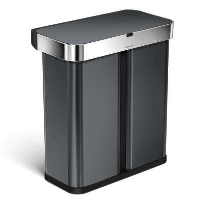 15.3 Gal. Black Stainless Steel Dual Compartment Rectangular Sensor Recycling Trash Can with Voice and Motion Control