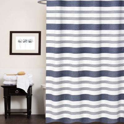 72 in. Ivory Blue Nowell Shower Curtain