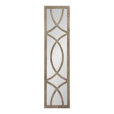 Large Rectangle Brown Classic Mirror (47.24 in. H x 11.73 in. W)