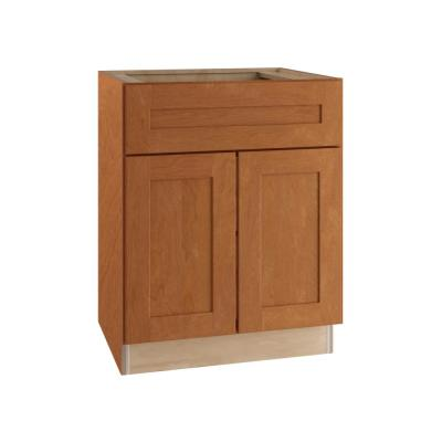 Hargrove Assembled 24x34.5x24 in. Plywood Shaker Base Kitchen Cabinet Soft Close Doors/Drawers in Stained Cinnamon