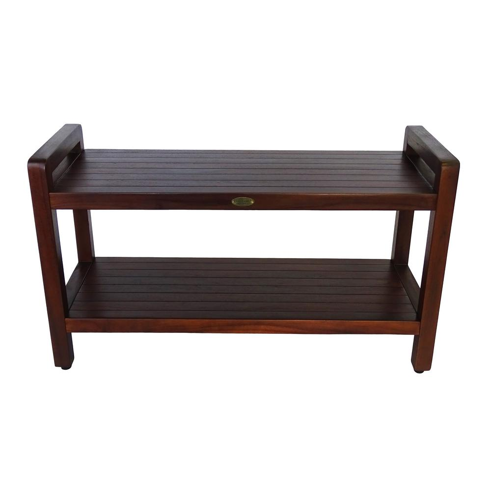 DecoTeak Classic 35 in. Extended LENGTH Ergonomic Teak Shower Stool with LiftAid Arms And Shelf