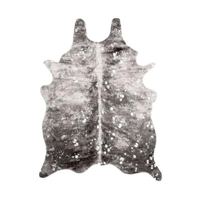 Tinley Faux Cowhide Spotted Gray 5 ft. x 7 ft. Shaped Rug