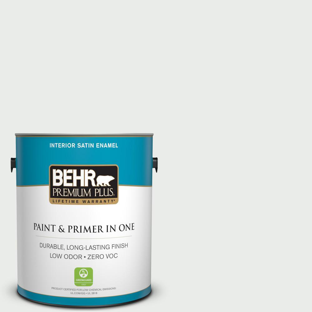 BEHR Premium Plus 1-gal. #W-F-510 Silver Sky Zero VOC Satin Enamel Interior Paint