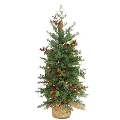 Nordic Spruce Artificial Christmas Tree with Battery Operated Warm White  LED Lights - Battery Operated - Pre-Lit Christmas Trees - Artificial Christmas