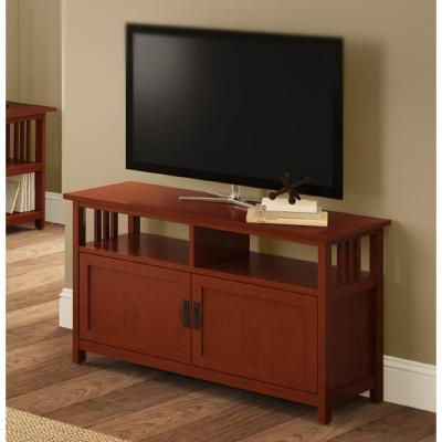 Mission 16 in. Cherry Wood TV Stand Fits TVs Up to 50 in. with Storage Doors