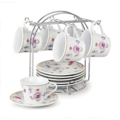 Espresso Cups 2 oz. On Metal Stand-Purple Flower (Set of 6)