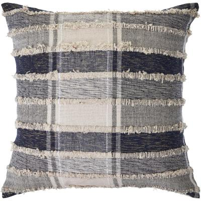 Checks Navy Blue / Cream Over Tufted 20 in. x 20 in. Plaid Throw Pillow