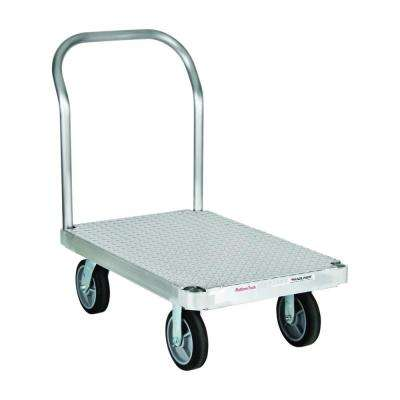 2,800 lb. Capacity 24 in. x 48 in. Tread Deck Aluminum Platform Truck with One Handle, 8 in. Thermoplastic Rubber Wheels