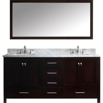 Caroline Avenue 72 in. W Bath Vanity in Espresso with Marble Vanity Top in White with Square Basin and Mirror