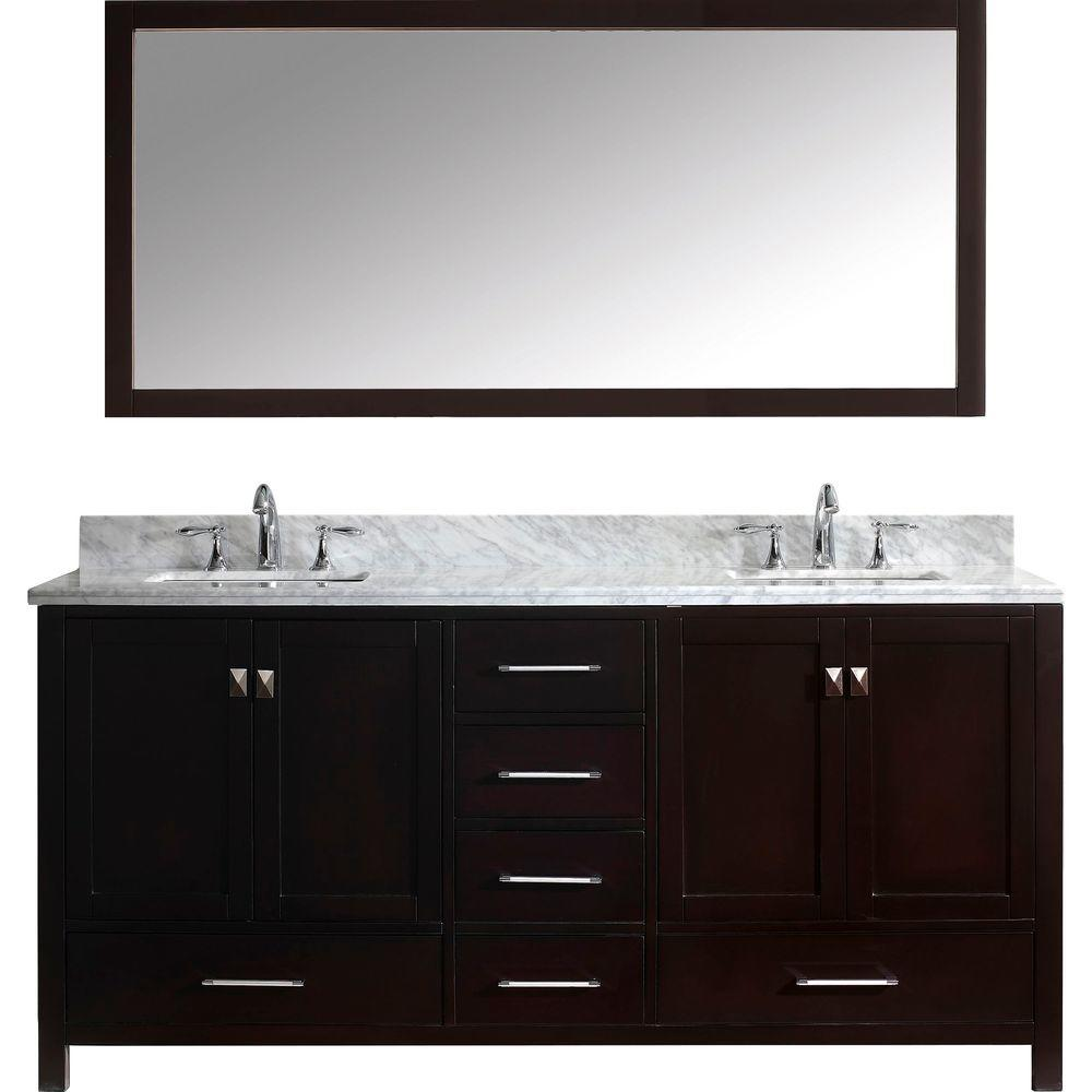 Virtu Usa Caroline Avenue 72 In W Bath Vanity In Espresso