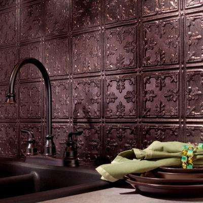 24 in. x 18 in. Traditional 10 PVC Decorative Backsplash Panel in Smoked Pewter
