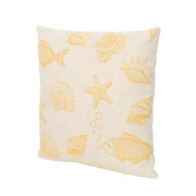 Gracelyn Sea Life 18 in. Square Outdoor Throw Pillow