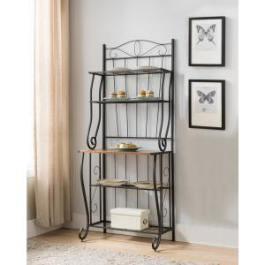 Black/Walnut 5-Tier Bakers Rack - Kitchen Storage