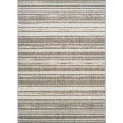 Recife Gazebo Stripe Champagne-Taupe 8 ft. x 11 ft. Indoor/Outdoor Area Rug