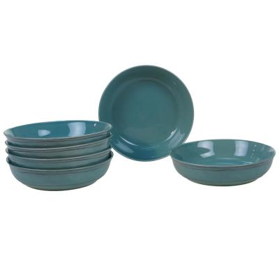 Orbit 6-Piece Teal 8.5 in. x 2 in. Soup Bowl Set