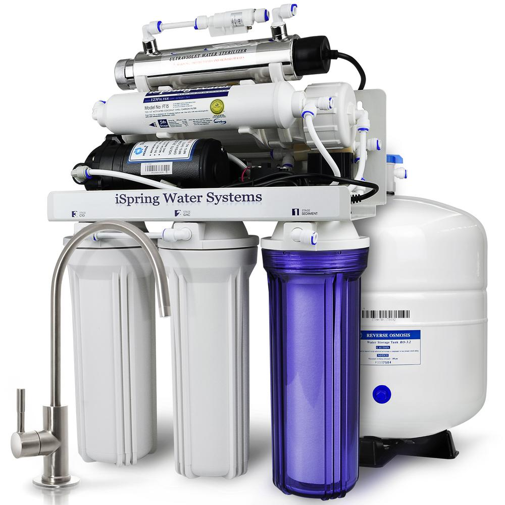 ispring 7stage w booster pump alkaline rem filter and uv sterilizer 100gpd under sink reverse osmosis water filtration the home depot