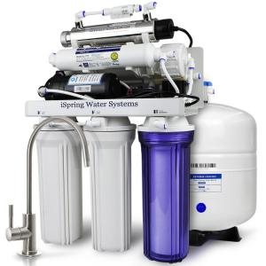 ISPRING 7-Stage 100 GPD Under-Sink Reverse Osmosis Drinking Water Filtration System with Booster Pump, Alkaline Filter and UV by ISPRING
