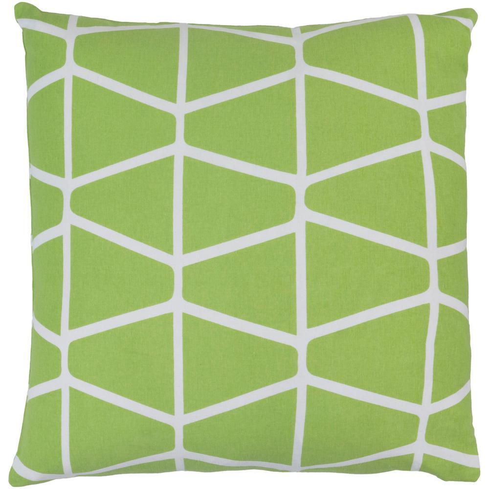 Lanark Lime Green Geometric Polyester 22 in. x 22 in. Throw Pillow