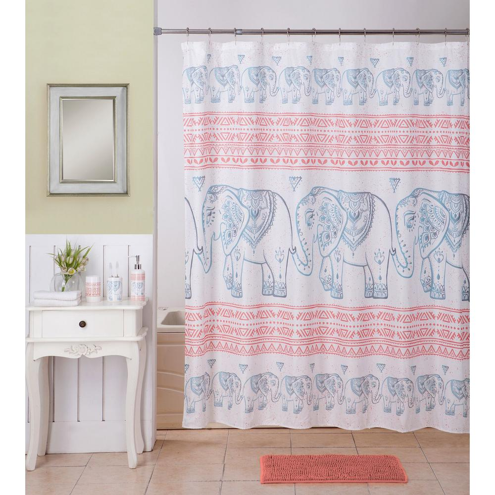 Elephant Multi Color Bath Rug Ceramic Accessories And Shower Curtain Set 17