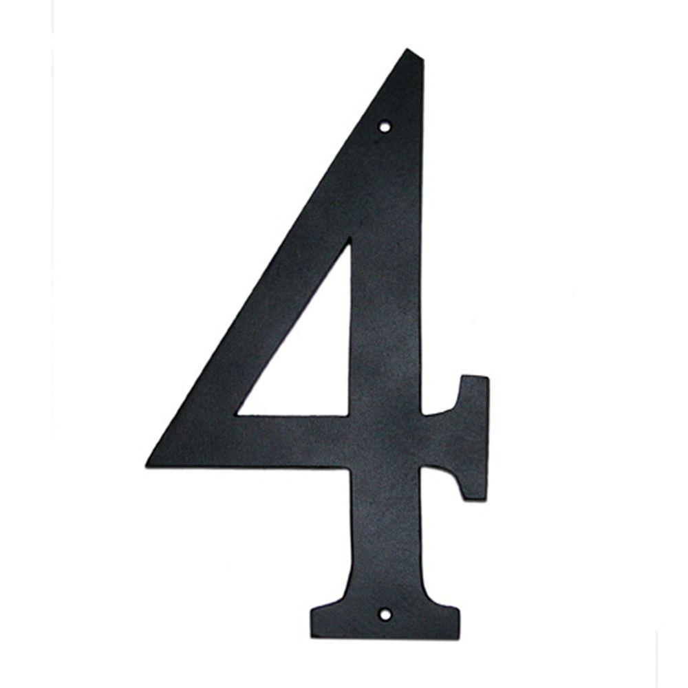 Montague Metal Products 4 in. Standard House Number 4 Montague Metal Products house numbers and letters are hand crafted and sand cast in rust free aluminum in our foundry in Montague MI. All casting is hand polished and finished with weather resistant paint to insure a lifetime of enjoyment. These numbers and letters are ideal for any home or business.