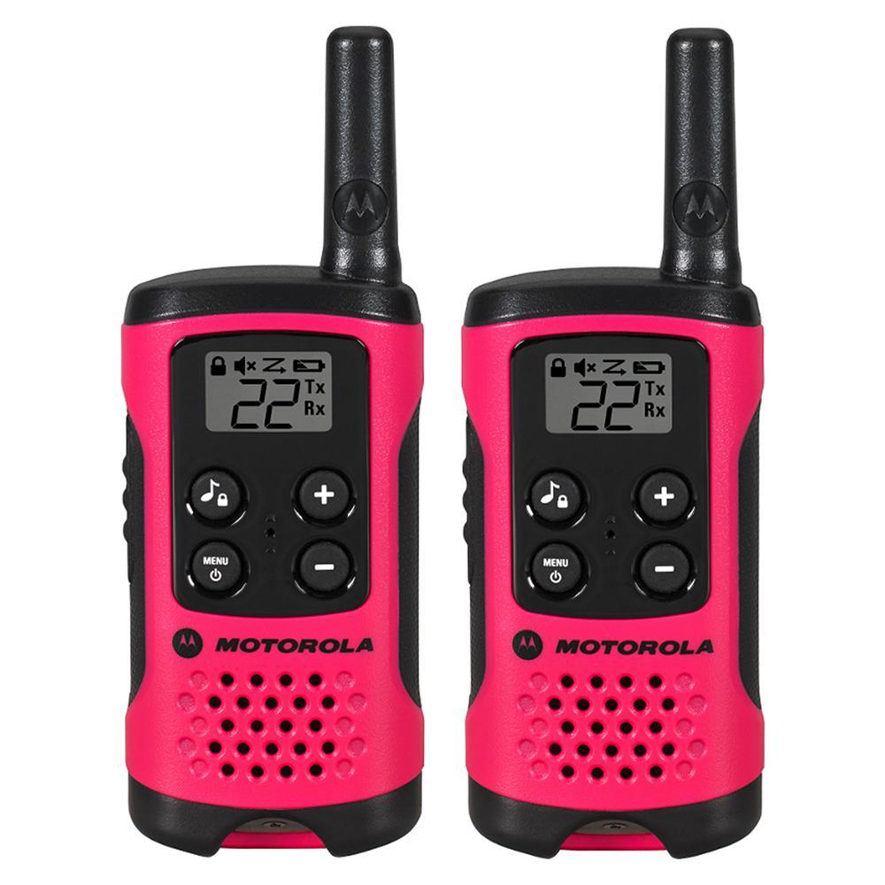 Motorola Talkabout T107 Alkaline 2-Way Radio, Neon Pink (2-Pack) by Motorola