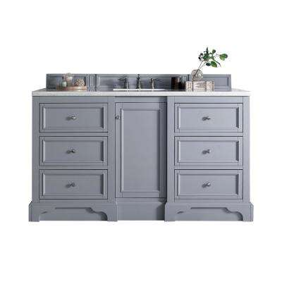 De Soto 60 in. W Single Vanity in Silver Gray with Soild Surface Vanity Top in Arctic Fall with White Basin