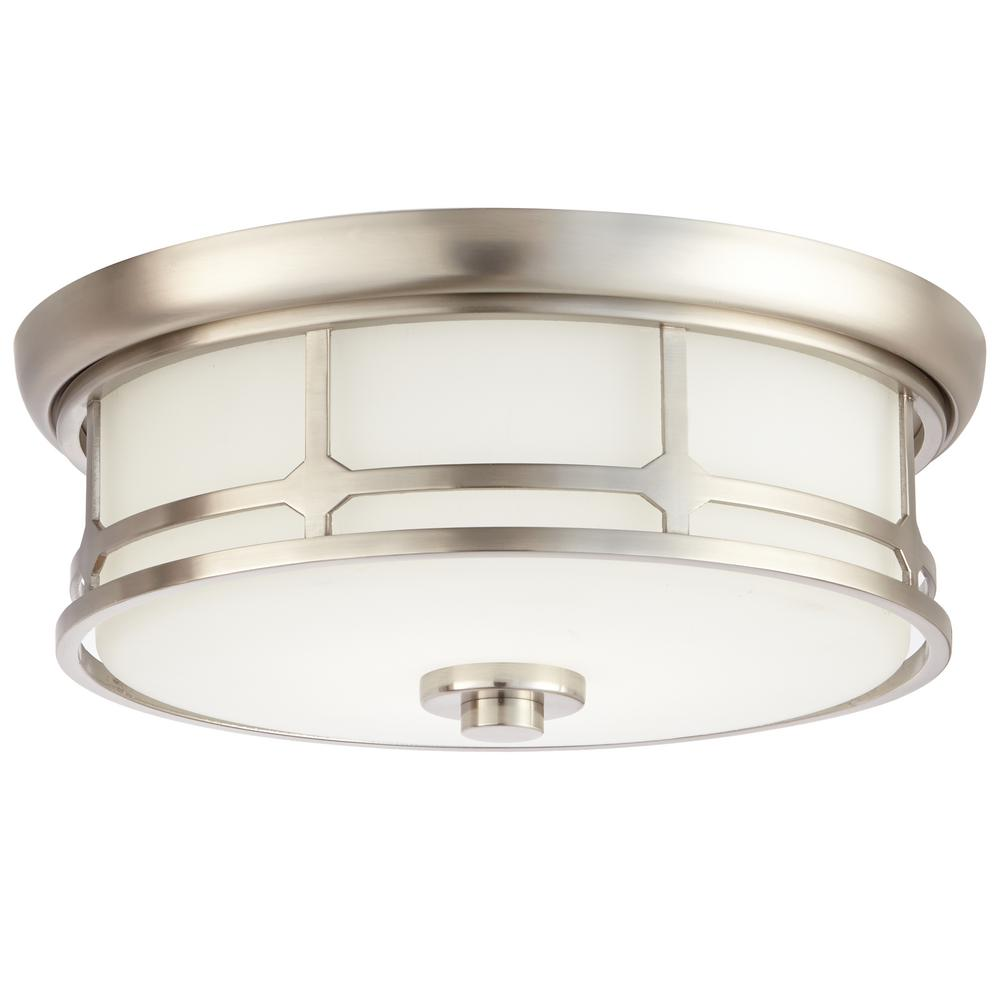 14 In. 75 Watt Equivalent Brushed Nickel Integrated LED Flushmount With  Frosted White Glass