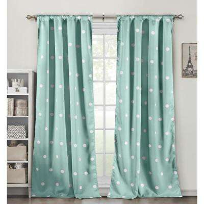 Dottie Seafoam Blackout Pole Top Panel Pair - 38 in. W x 84 in. L in (2-Piece)