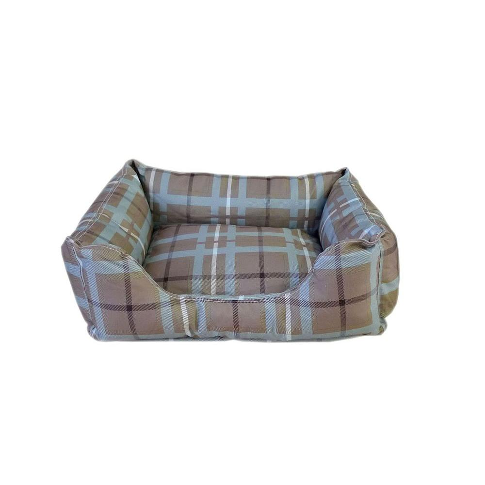 Brutus Tuff Kuddle Small Blue/Brown Plaid Lounge Bed