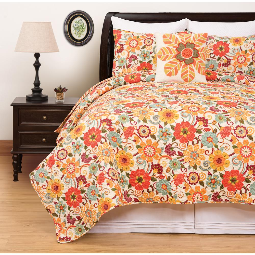 Riley Orange Full/Queen Quilt Set