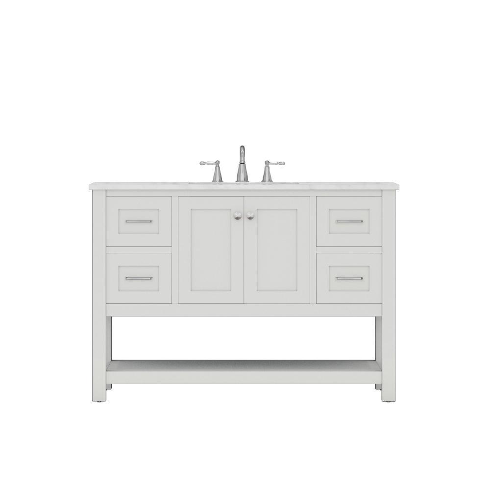 Wilmington 48 in. W x 34.2 in. H x 22 in. D Bath Vanity in White with Marble Vanity Top in White with White Basin