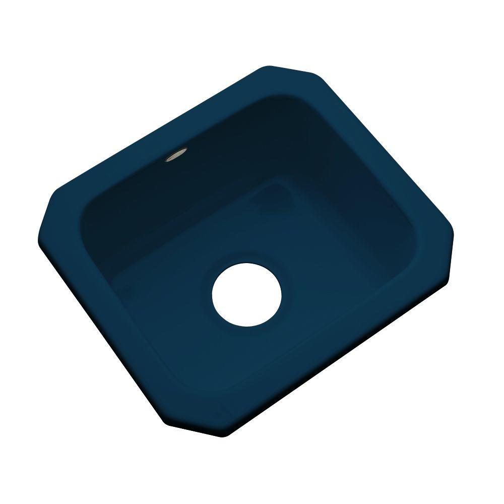 Thermocast Manchester Undermount Acrylic 16 in. 0-Hole Single Basin Entertainment Sink in Navy Blue