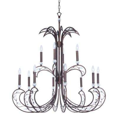 Autumn 40 in. W 12-Light Russet Chandelier with Clear Shade