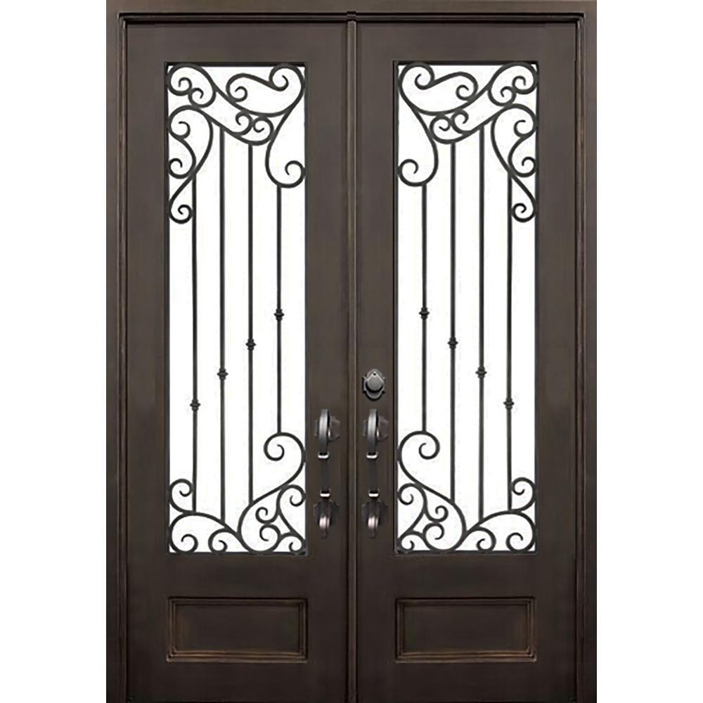 ALLURE IRON DOORS & WINDOWS 72 in. x 96 in. Lakeland Dark Bronze Classic 3/4 Lite Painted Wrought Iron Prehung Front Door (Hardware Included)