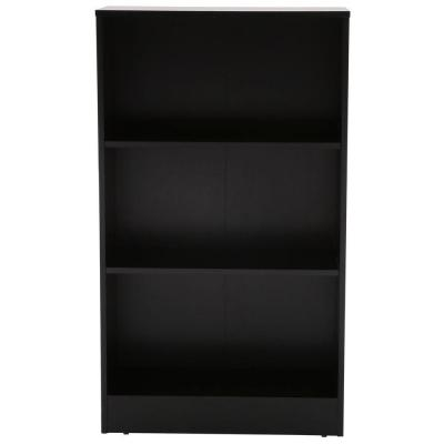 42.56 in. Black Wood 3-shelf Standard Bookcase with Adjustable Shelves