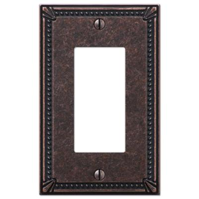 Imperial Bead 1 Gang Rocker Metal Wall Plate - Tumbled Aged Bronze