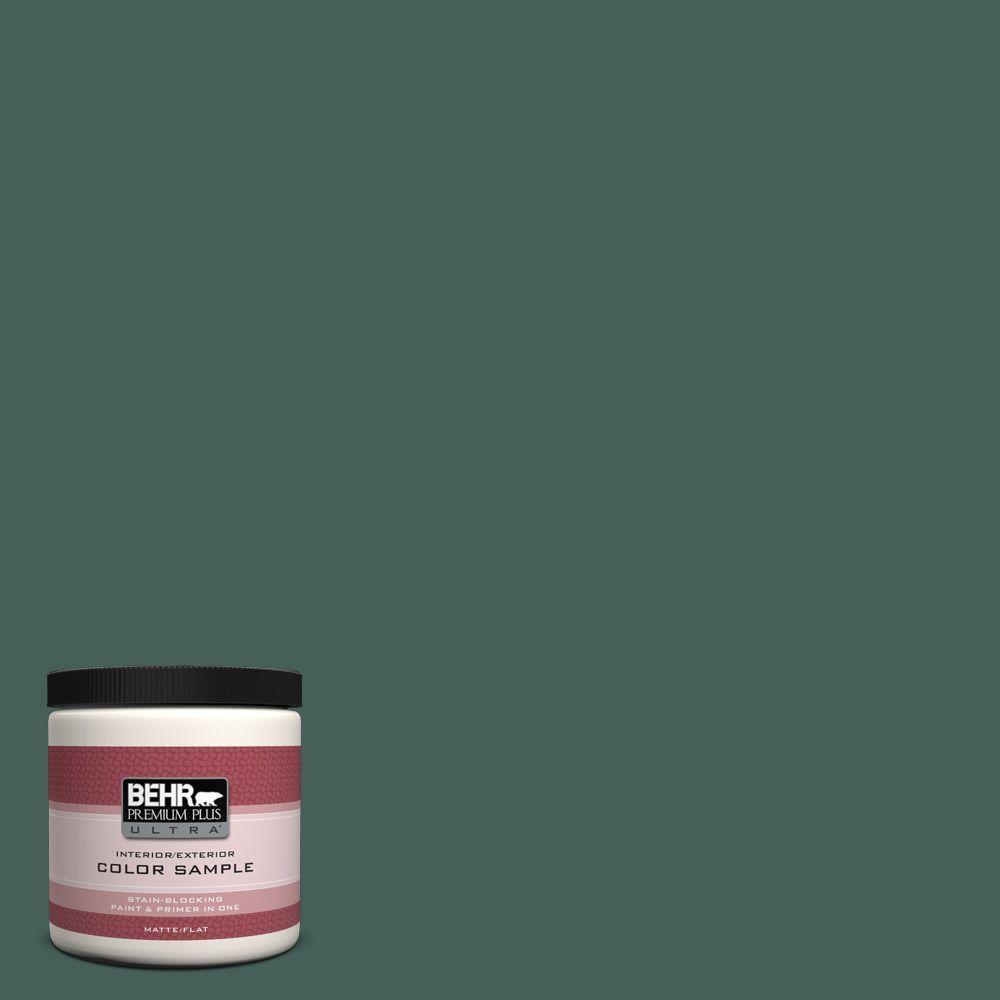 BEHR Premium Plus Ultra 8 oz. #M440-7 Rainforest Matte Interior/Exterior Paint and Primer in One Sample