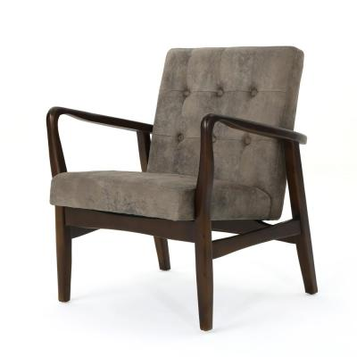 Marcola Greyish Brown and Dark Espresso Tufted Club Chair