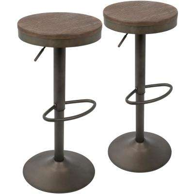 Dakota Antique and Brown Adjustable Barstool (Set of 2)