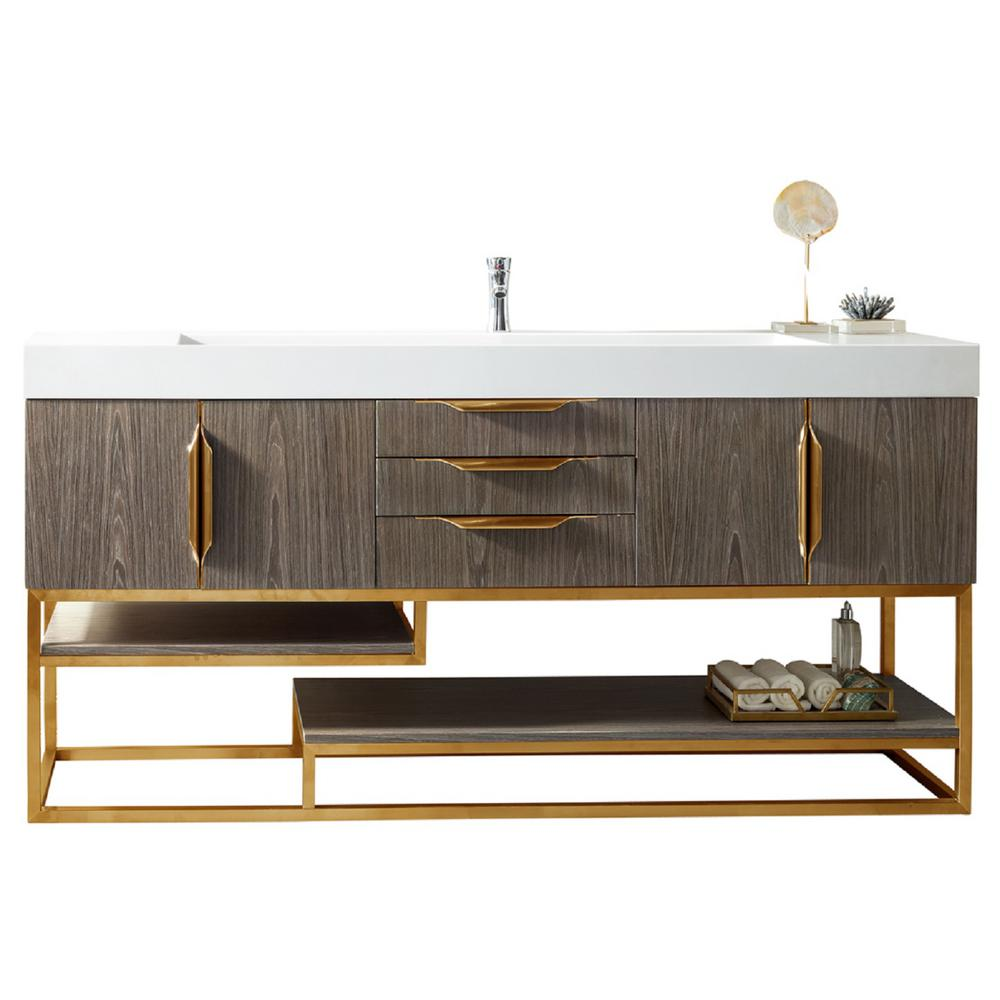 James Martin Vanities Columbia 72 in. W Single Bath Vanity in Ash Gray-Gold with Solid Surface Vanity Top in Matte White with White Basin