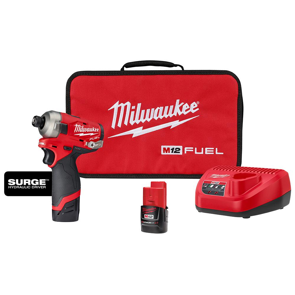Milwaukee M12 FUEL SURGE 12-Volt Lithium-Ion Brushless Cordless 1/4 in. Hex Impact Driver Compact Kit w/(2) 2.0Ah Batteries, Bag