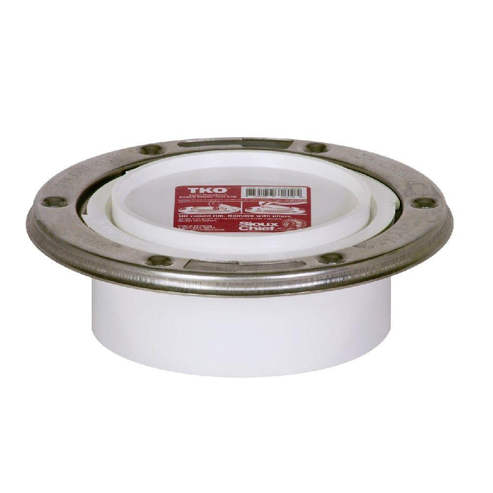 null TKO 4 in. PVC Adjustable Metal Ring DWV Hub Closet Flange