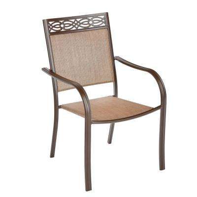Mix and Match Stackable Metal Outdoor Dining Chair in Light Brown Sling with Decorative Heading