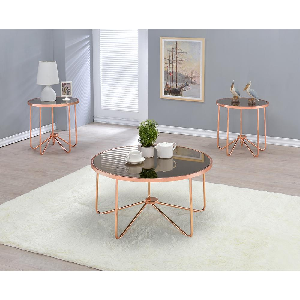 Alivia Rose Gold And Smokey Gl Top End Table